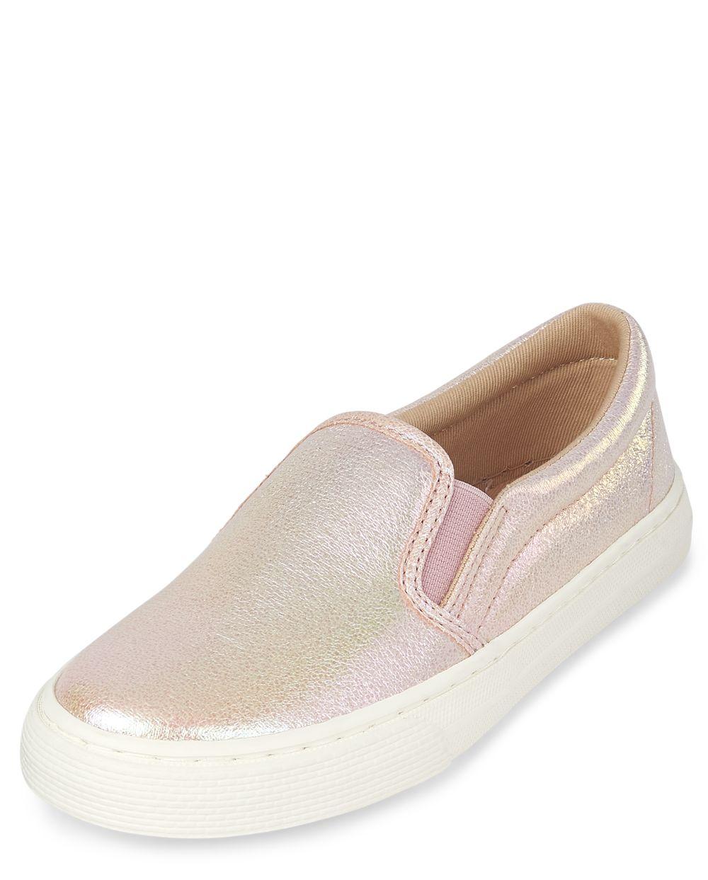 Girls Metallic Slip On Sneakers