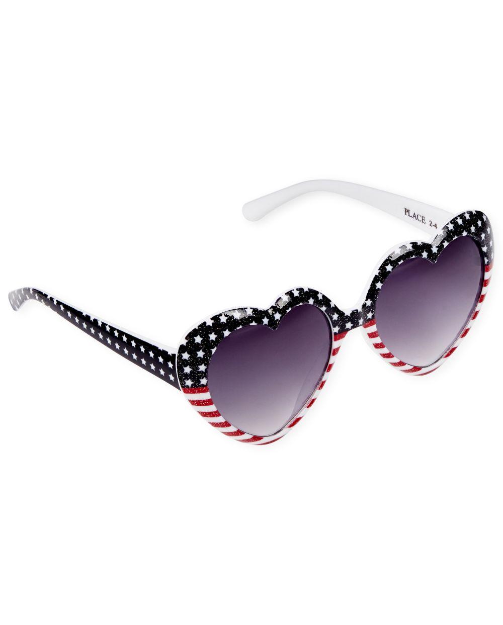 Toddler Girls Glitter Flag Heart Sunglasses