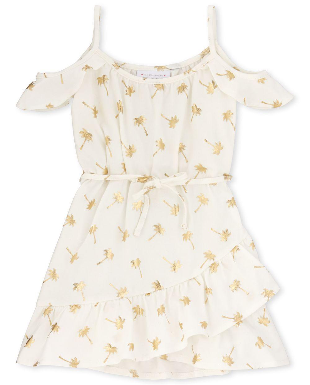 Vestido de hombro frío con estampado de palmeras y láminas para bebés niñas