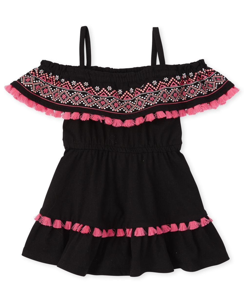 Baby And Toddler Girls Tassel Ruffle Off Shoulder Dress