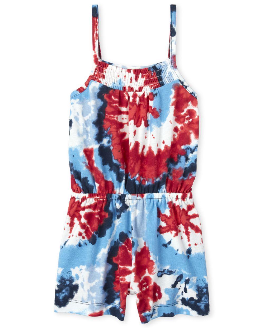 Baby And Toddler Girls Americana Tie Dye Romper