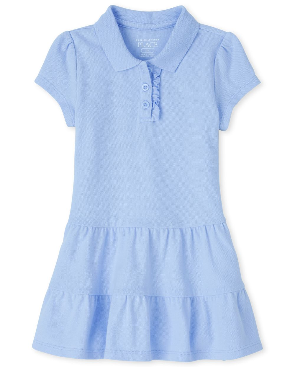 Vestido estilo polo de piqué escalonado con uniforme para niñas pequeñas
