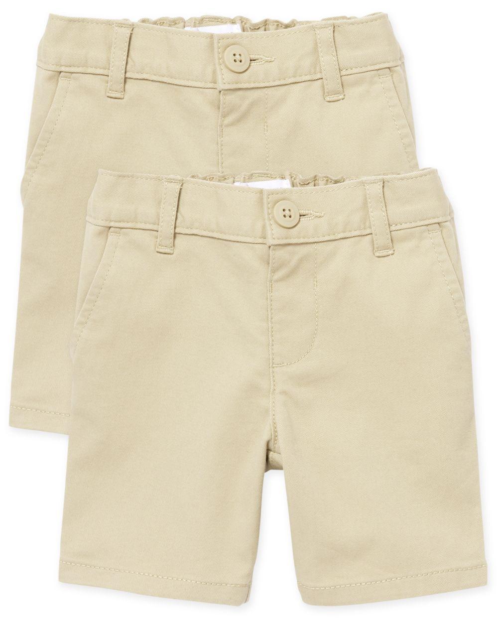 Shorts chinos uniformes para niñas pequeñas, paquete de 2