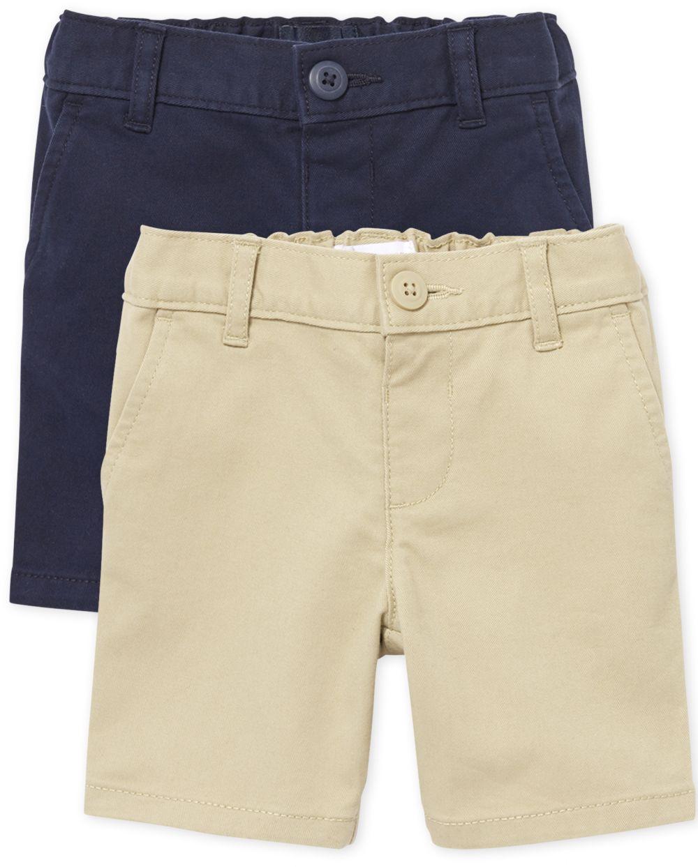Pantalón chino de uniforme para niñas pequeñas, paquete de 2