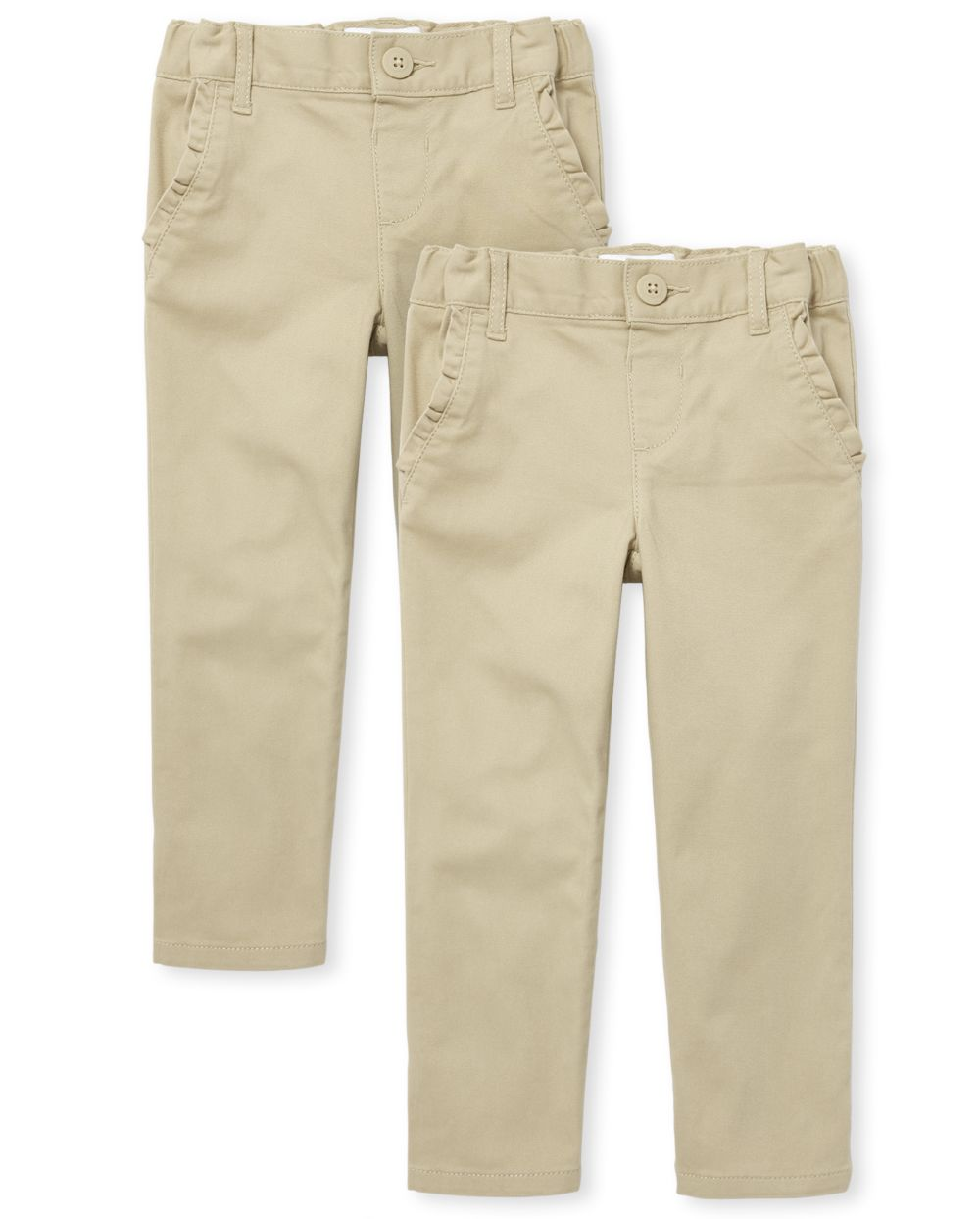 Toddler Girls Uniform Skinny Chino Pants 2-Pack