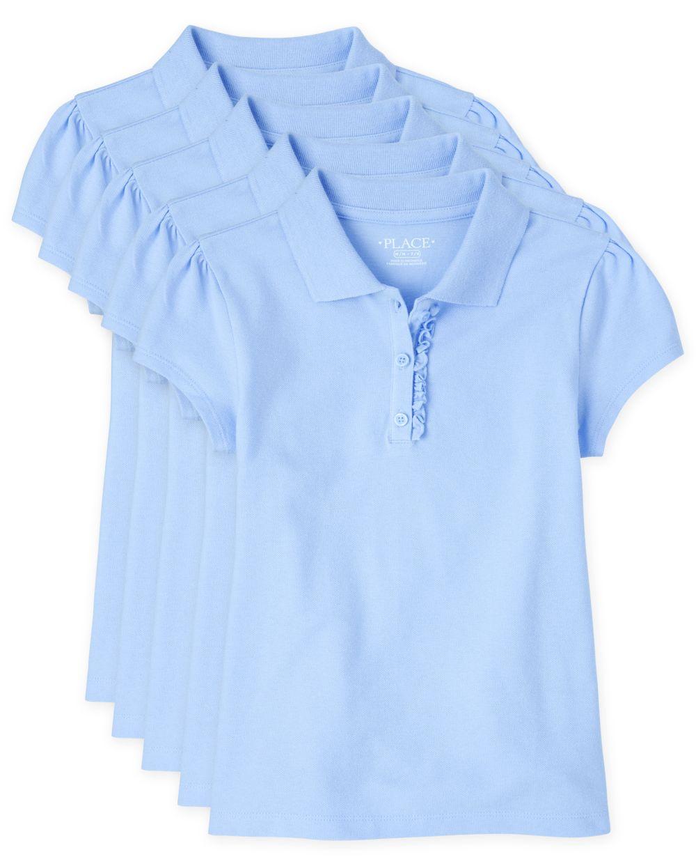 Girls Uniform Ruffle Pique Polo 5-Pack