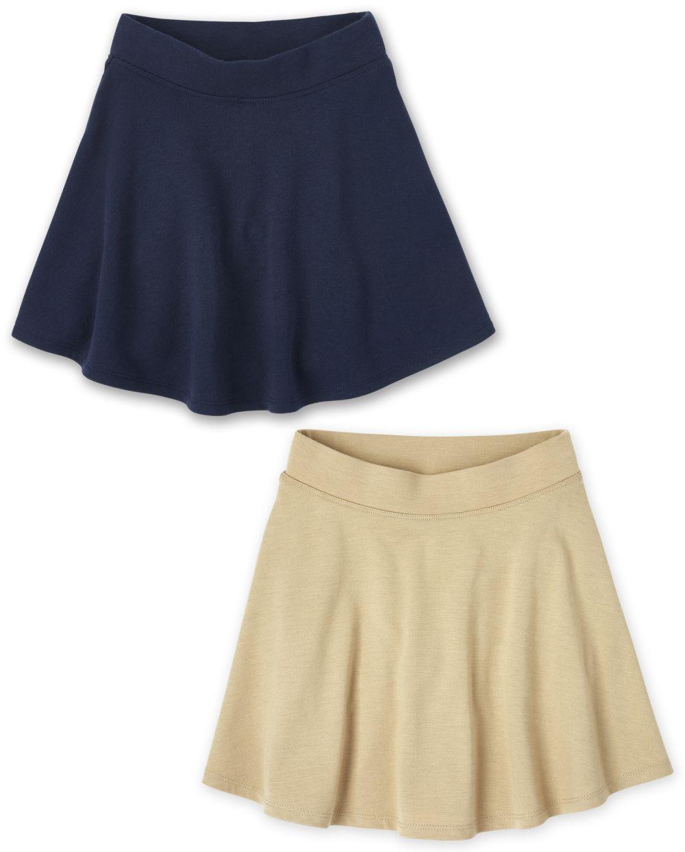 Girls Uniform Ponte Knit Skort 2-Pack