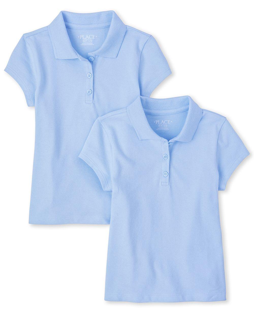 Conjunto de 2 polos de piqué de uniforme para niñas