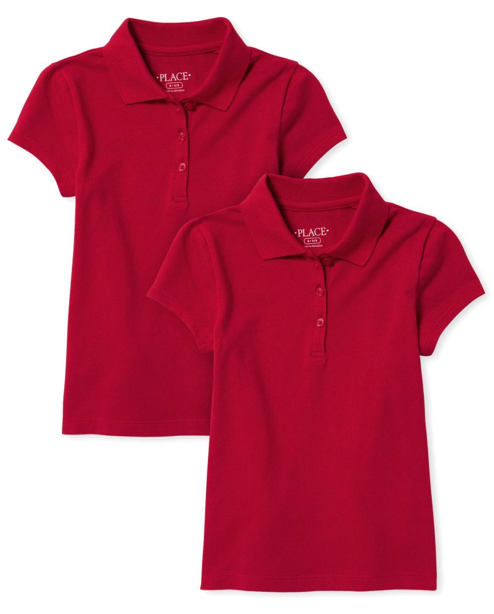 Polo de piqué uniforme para niñas, paquete de 2