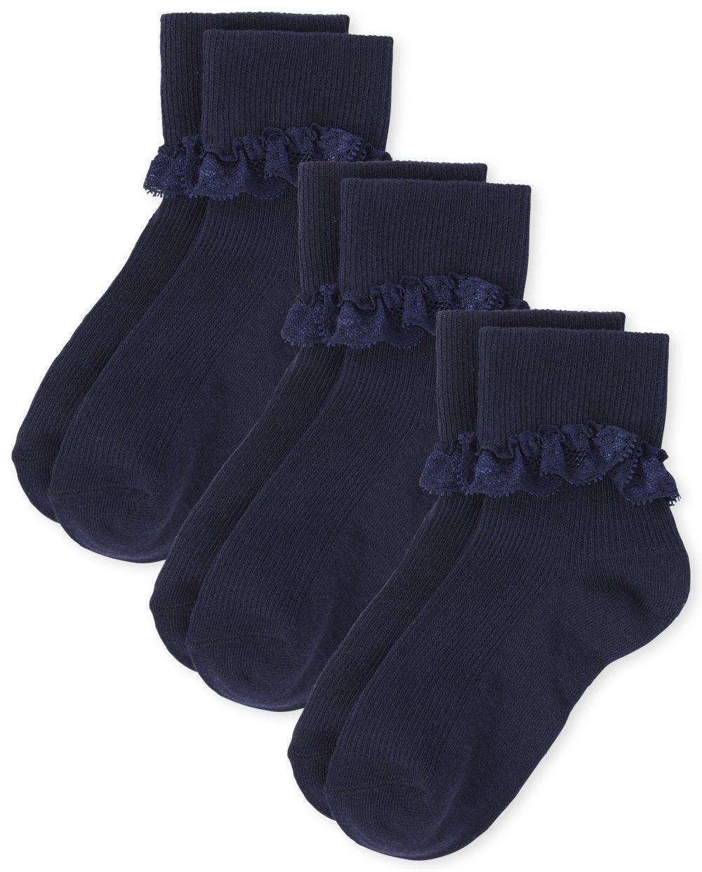 Girls Lace Ruffle Socks 3-Pack