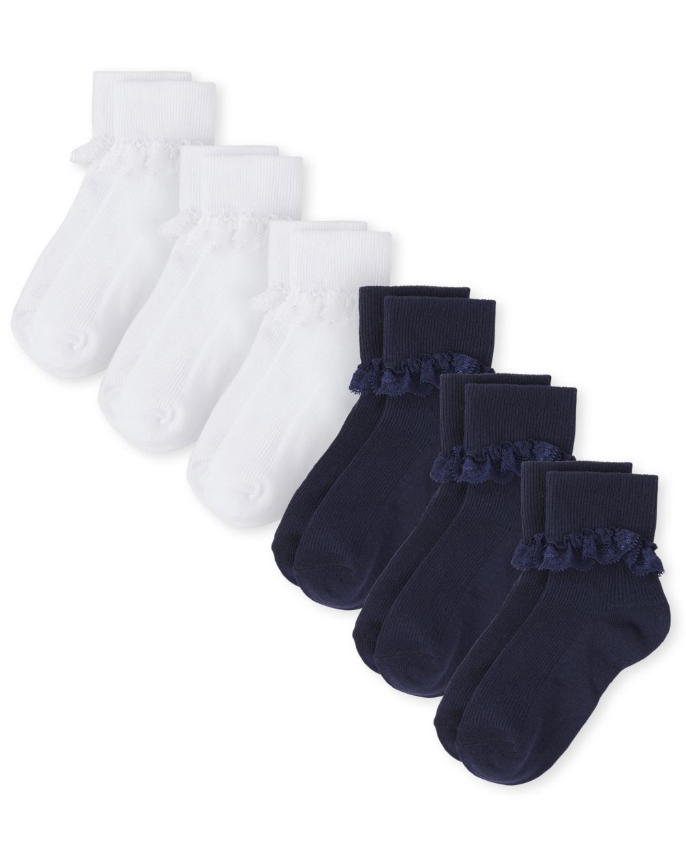 Girls Lace Ruffle Socks 6-Pack