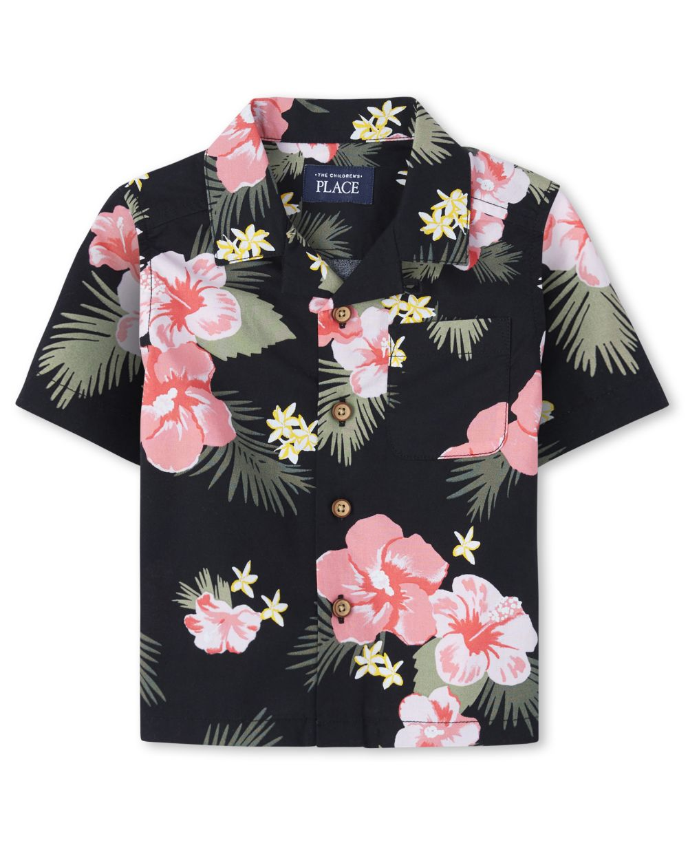Baby And Toddler Boys Matching Family Tropical Poplin Button Down Shirt
