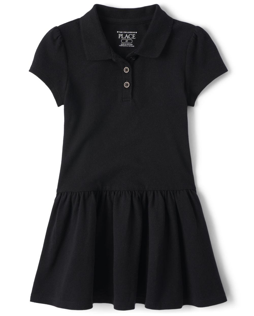Vestido tipo polo de piqué con volantes y uniforme para niñas pequeñas
