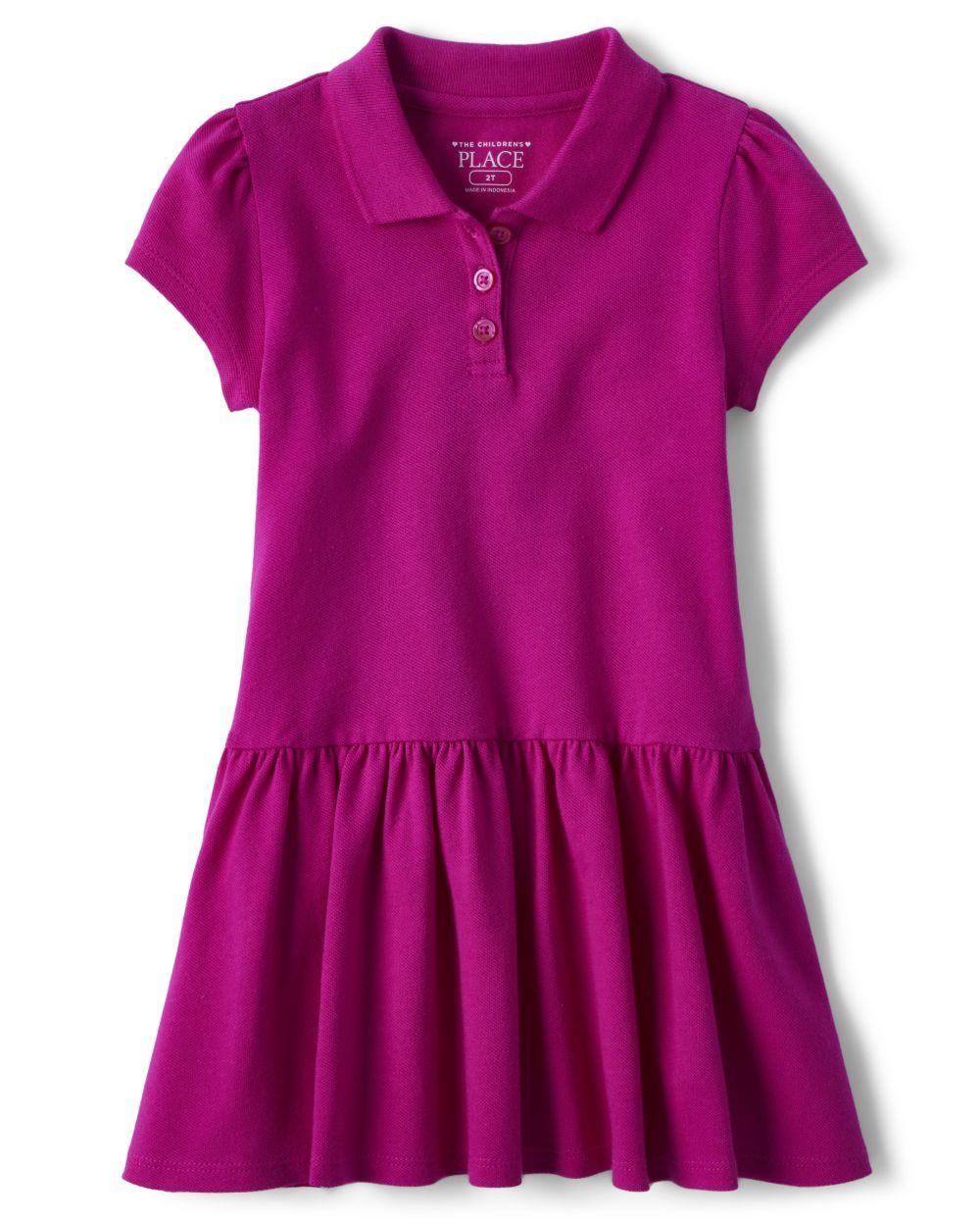Toddler Girls Uniform Ruffle Pique Polo Dress