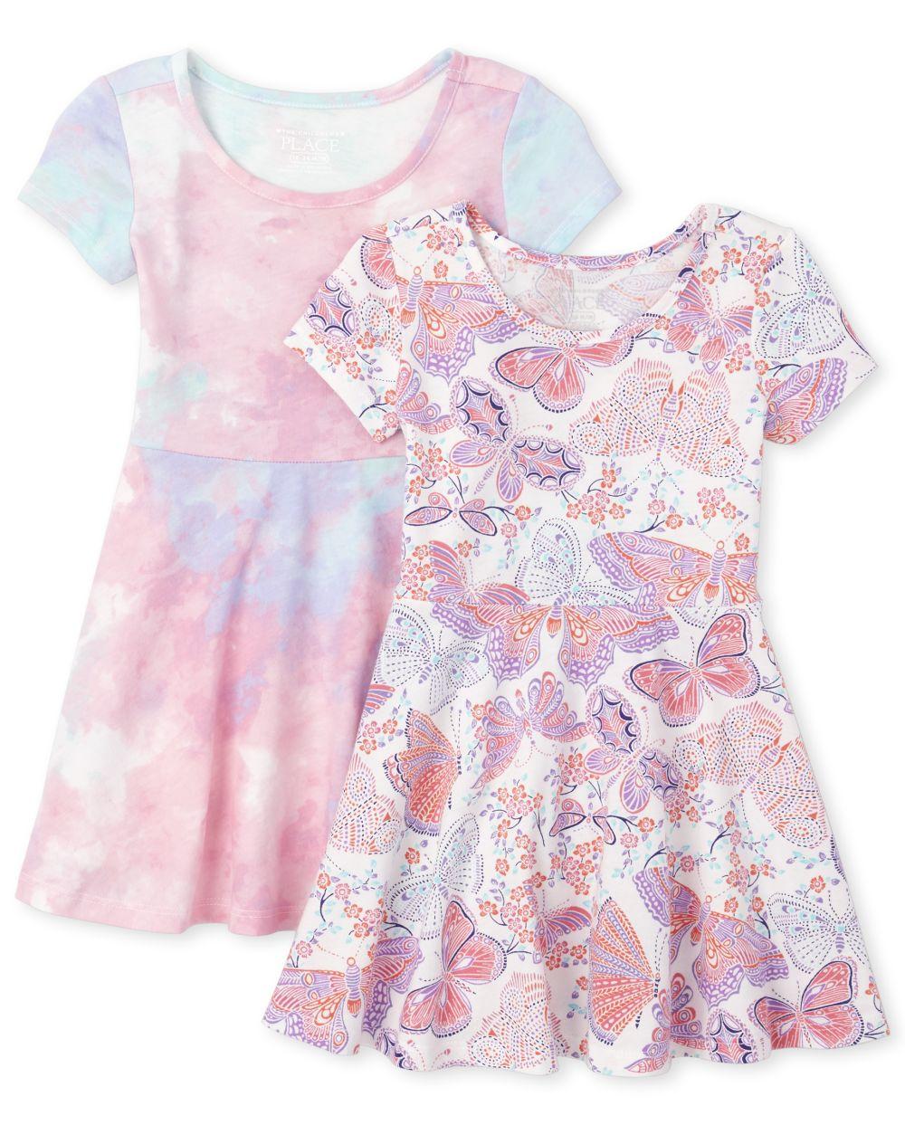Baby And Toddler Girls Print Skater Dress 2-Pack