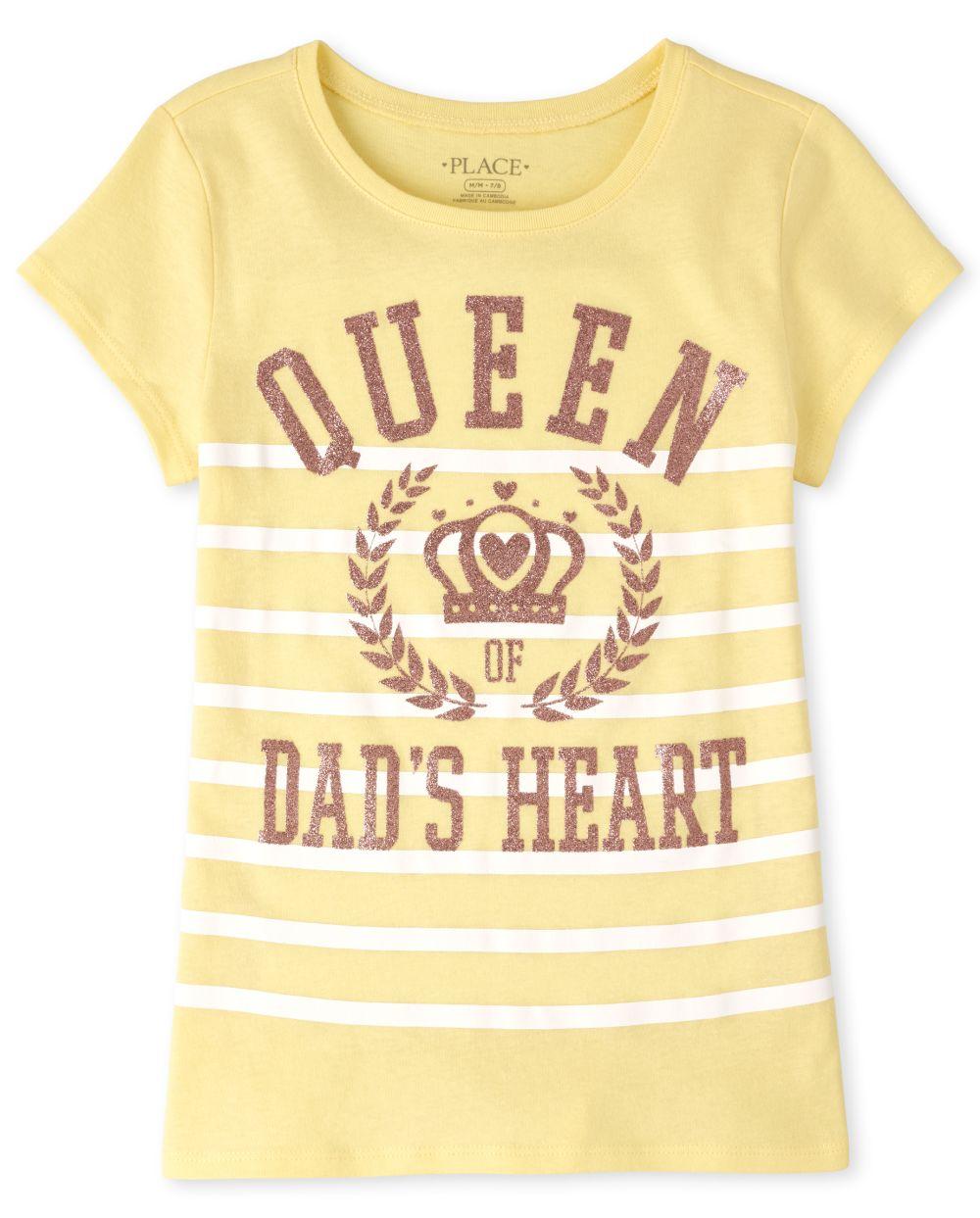 Girls Glitter Dad's Heart Graphic Tee