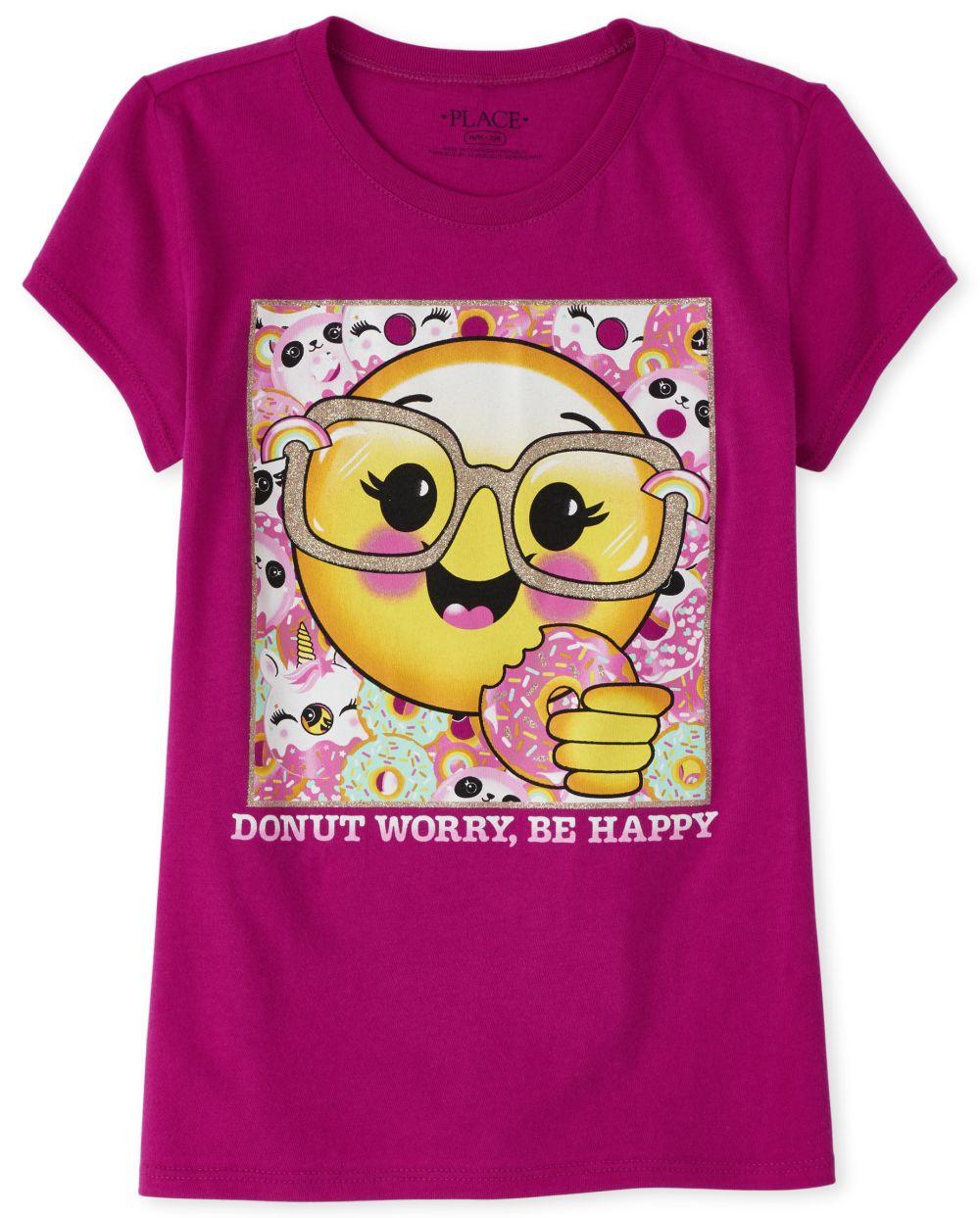 Girls Glitter Emoji Donut Graphic Tee