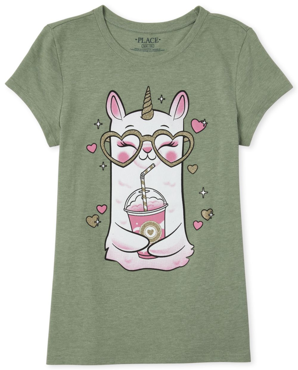 Girls Glitter Llamacorn Graphic Tee