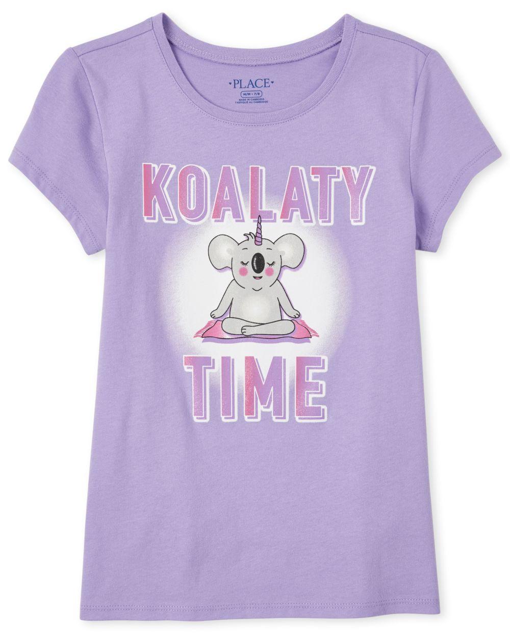 Girls Glitter Koala Graphic Tee