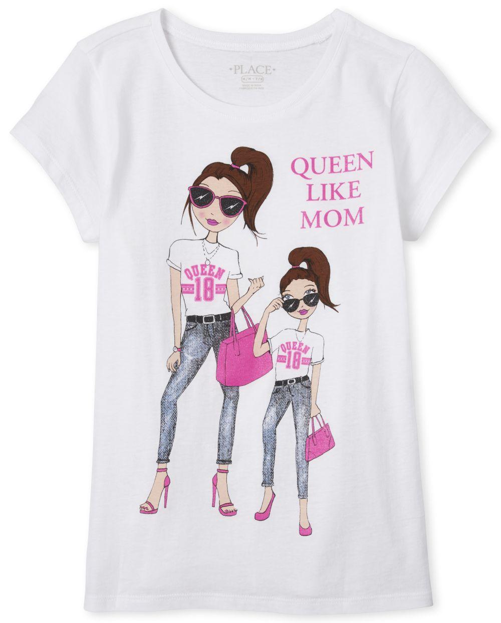 Girls Glitter Queen Like Mom Graphic Tee
