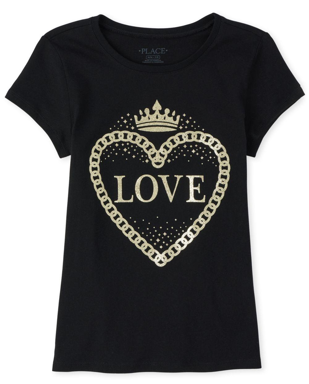Girls Glitter Love Graphic Tee