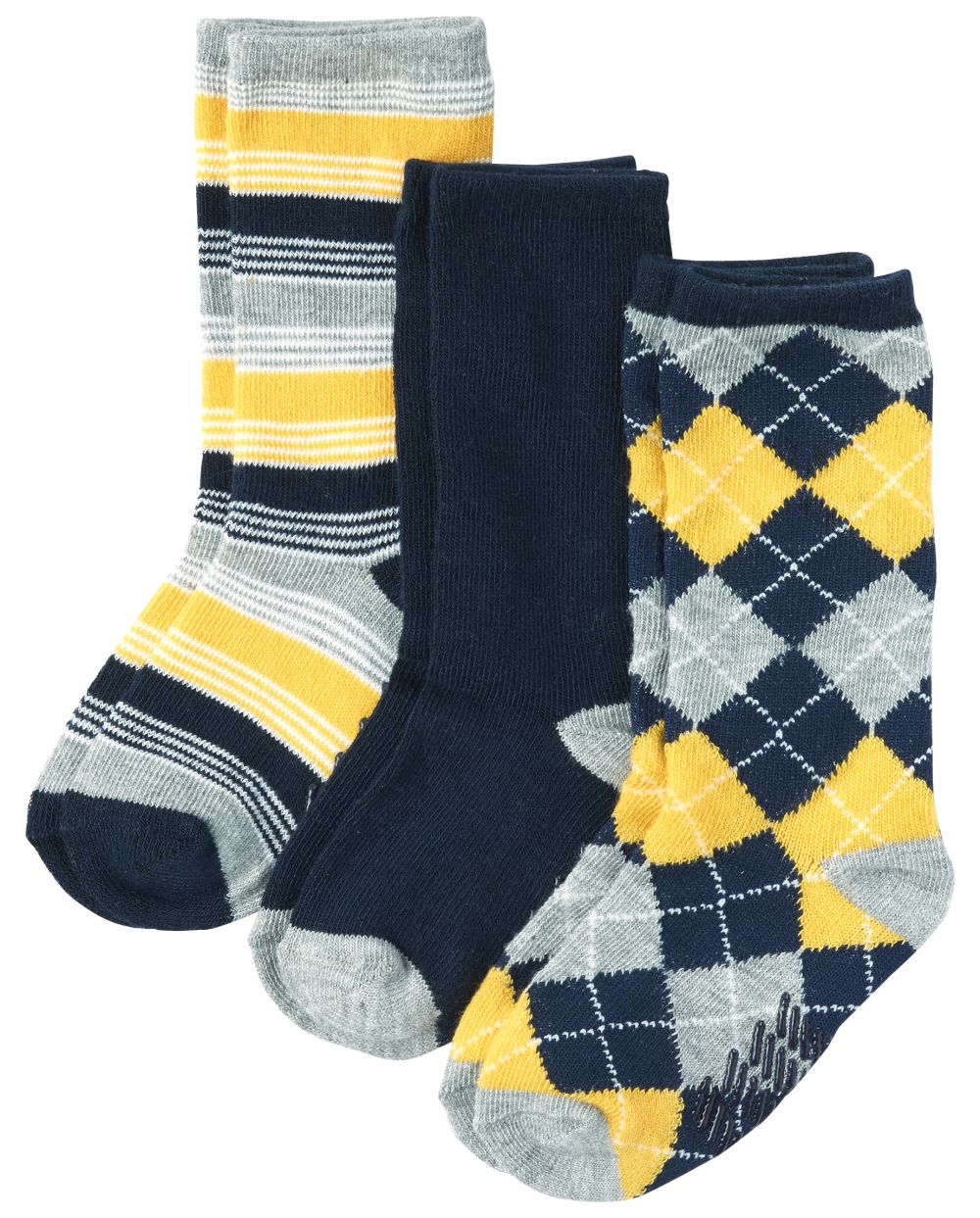 Toddler Boys Argyle And Striped Crew Socks 3-Pack