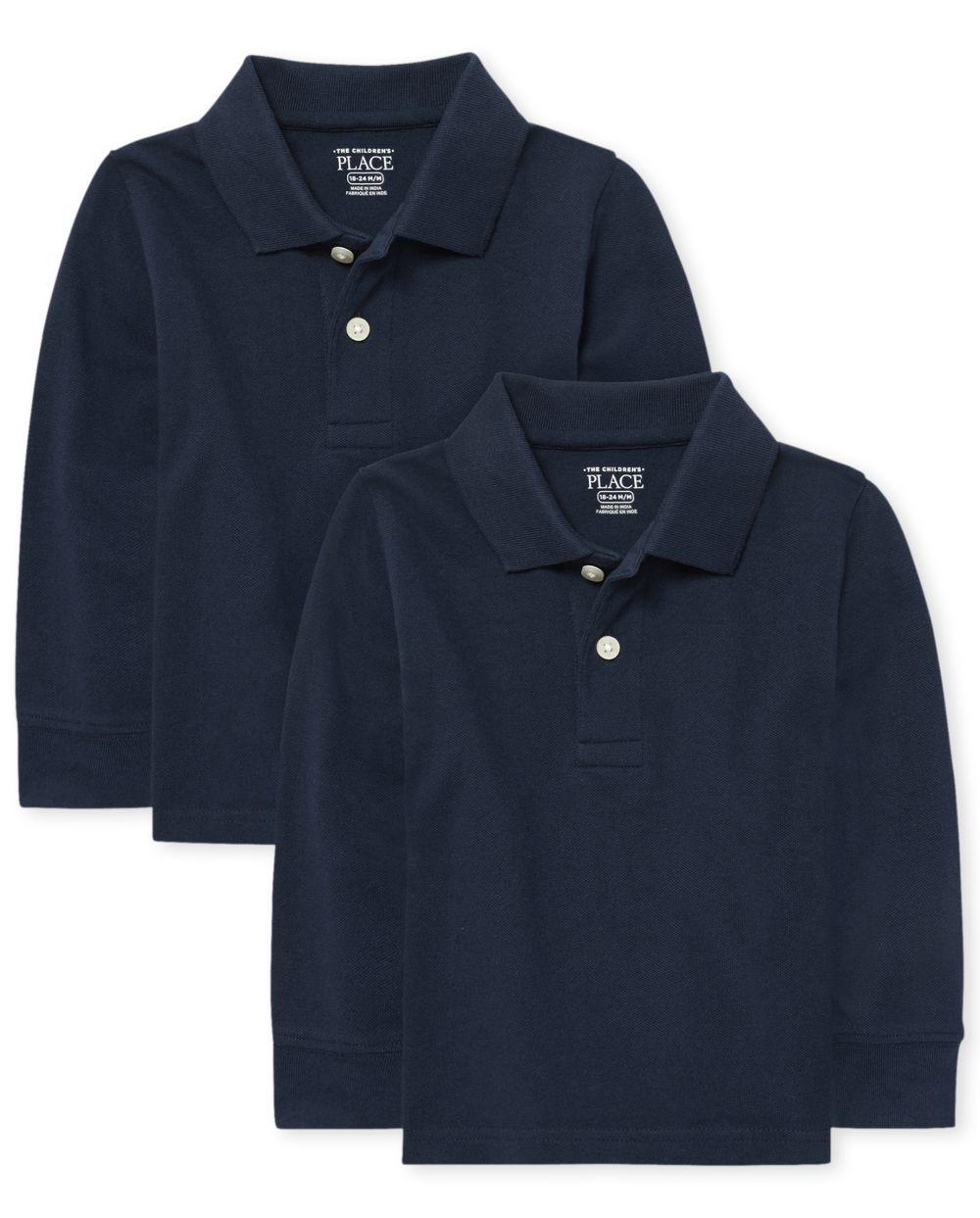 Polo de piqué de manga larga con uniforme de bebé y niño pequeño, paquete de 2