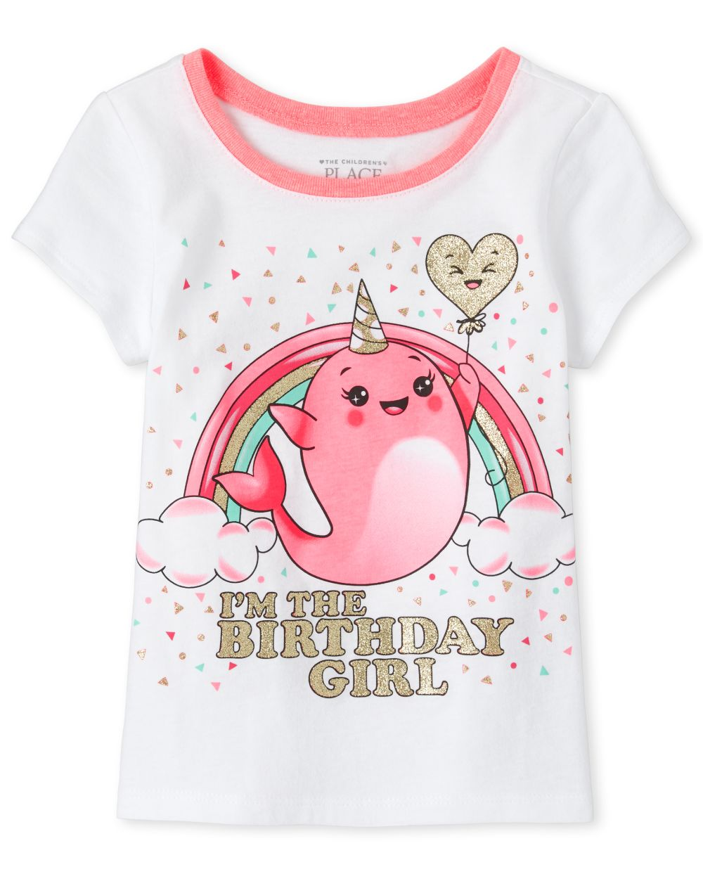 Baby And Toddler Girls Birthday Glitter Narwhal Graphic Tee