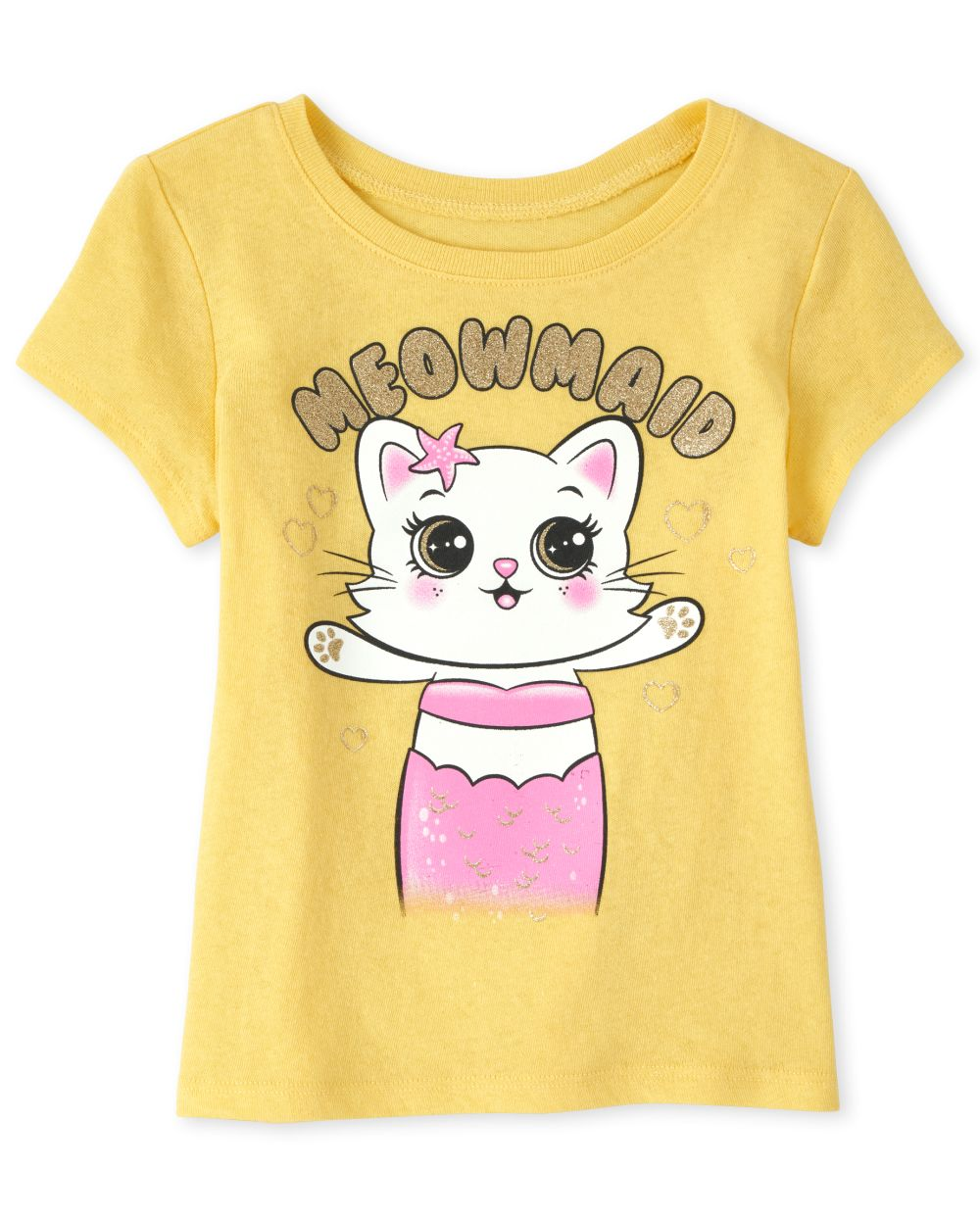 Baby And Toddler Girls Glitter Meowmaid Graphic Tee