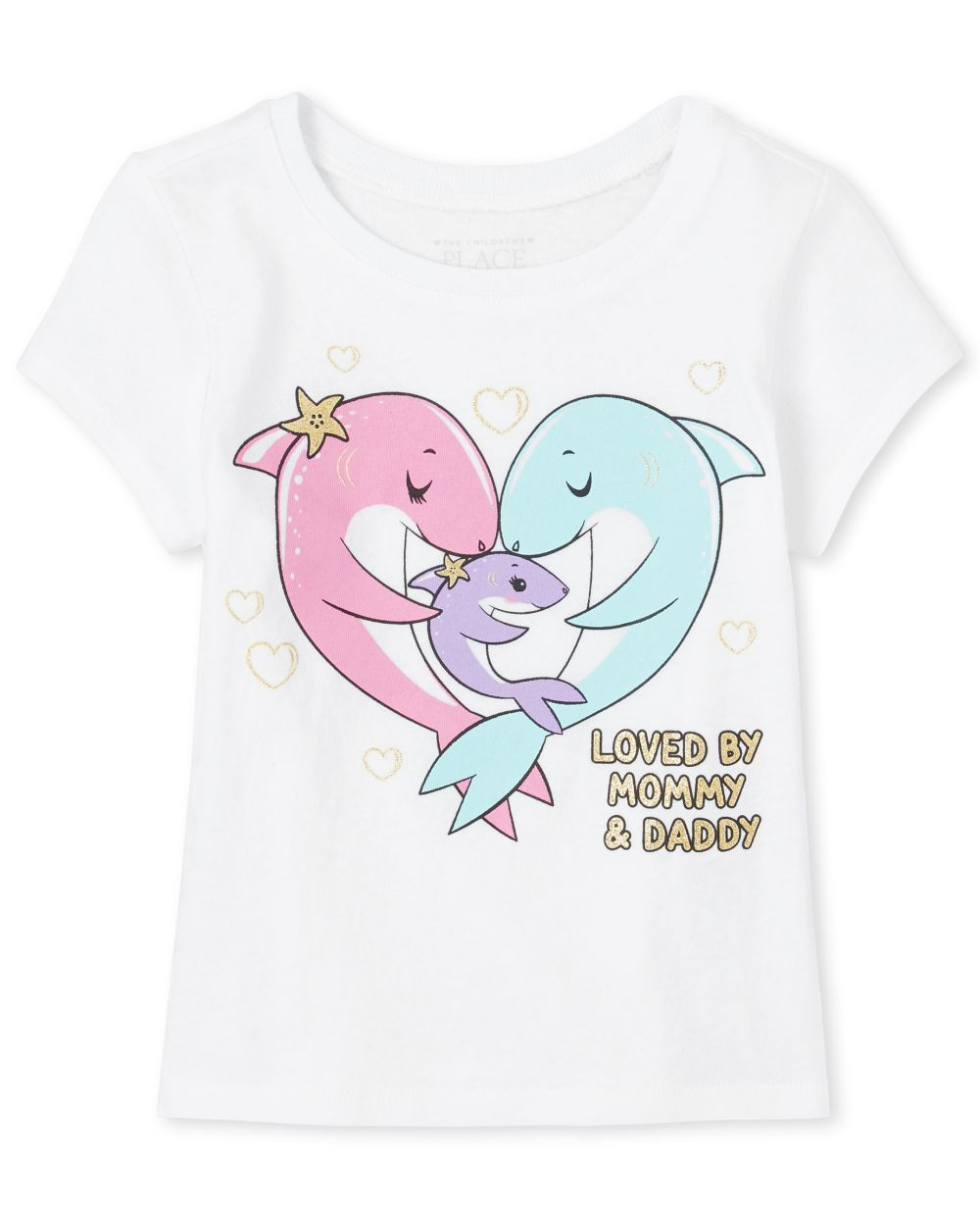 Baby And Toddler Girls Glitter Family Shark Graphic Tee