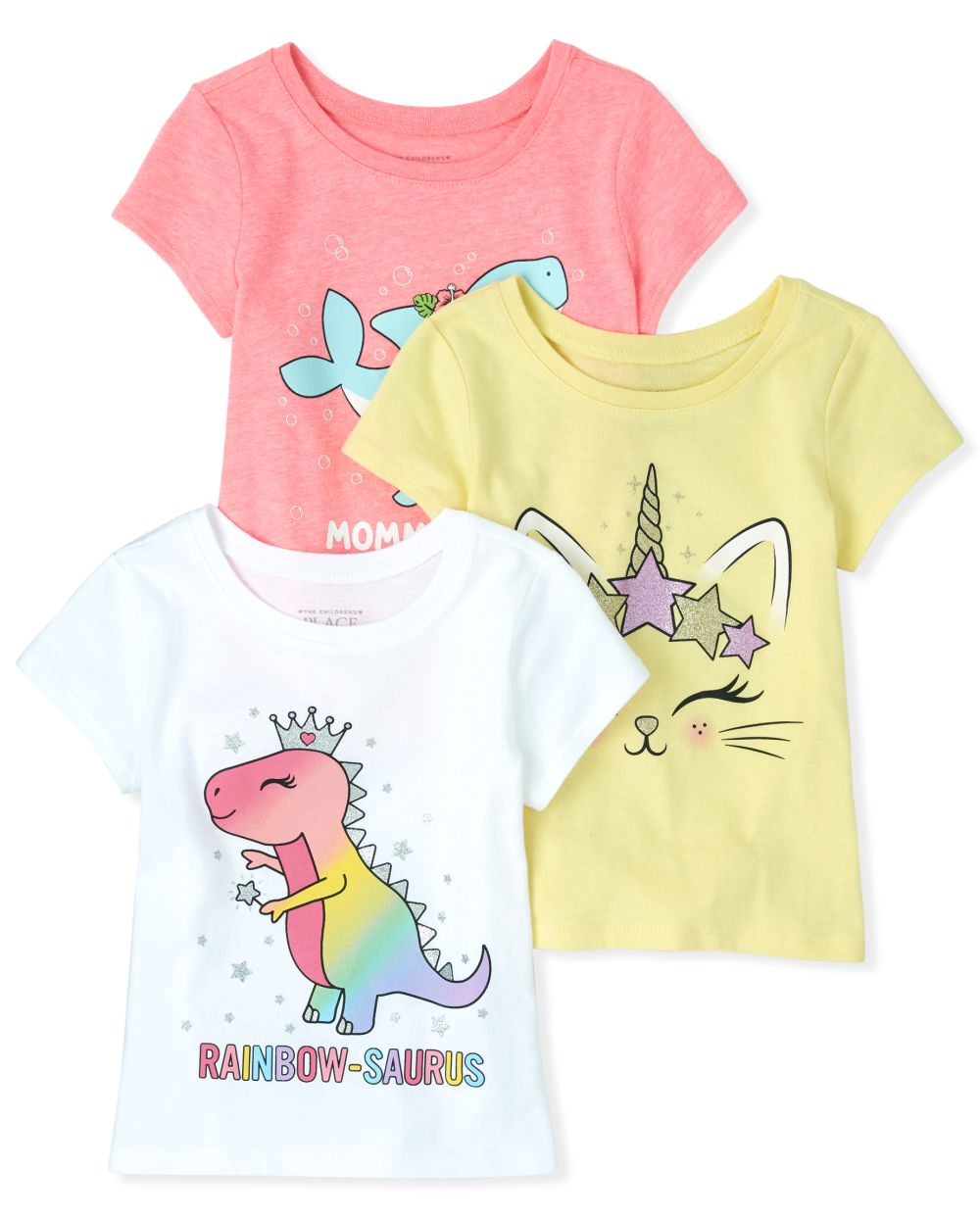 Baby And Toddler Girls Glitter Animals Graphic Tee 3-Pack
