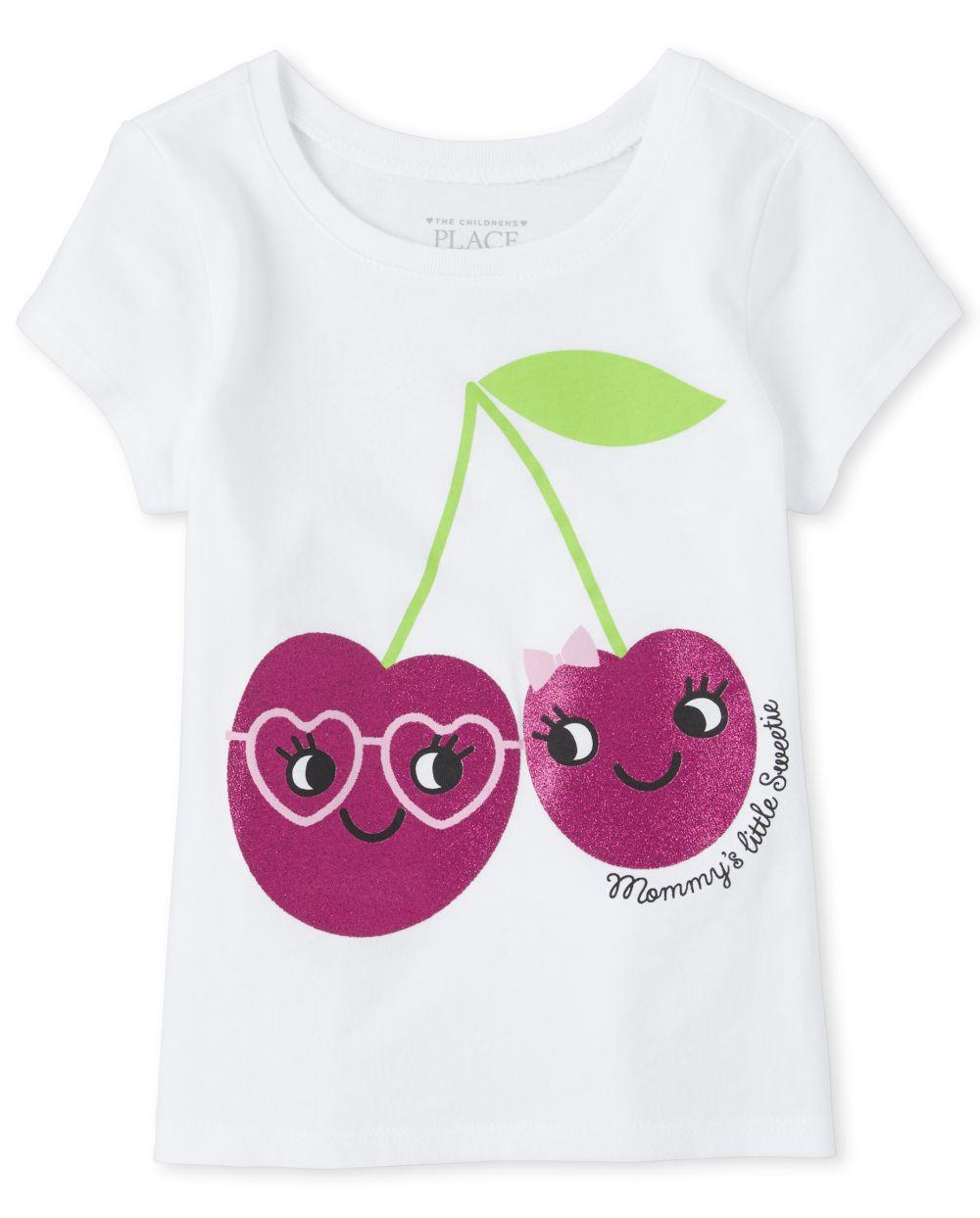 Baby And Toddler Girls Glitter Cherry Graphic Tee