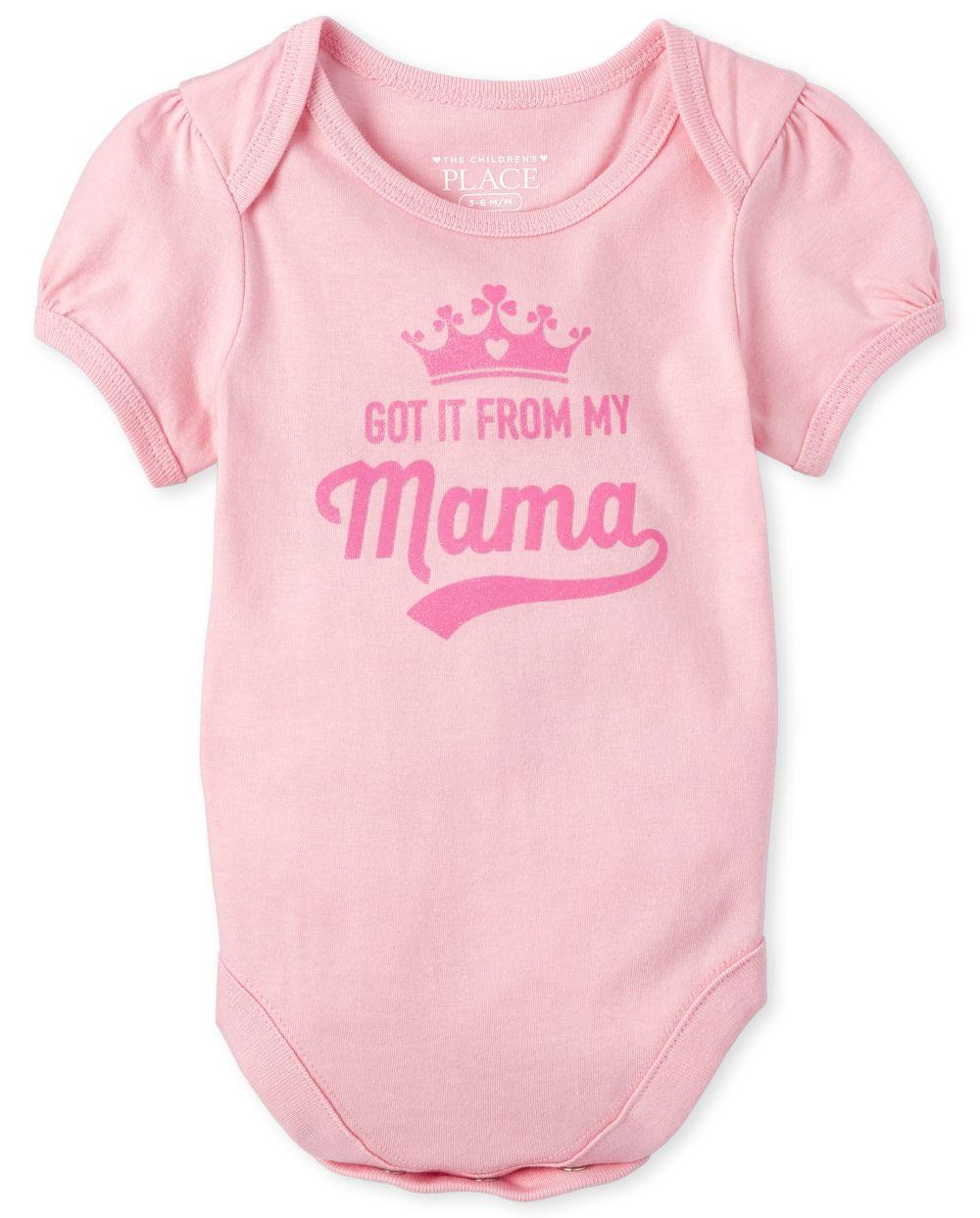 Baby Girls Glitter Mama Graphic Bodysuit