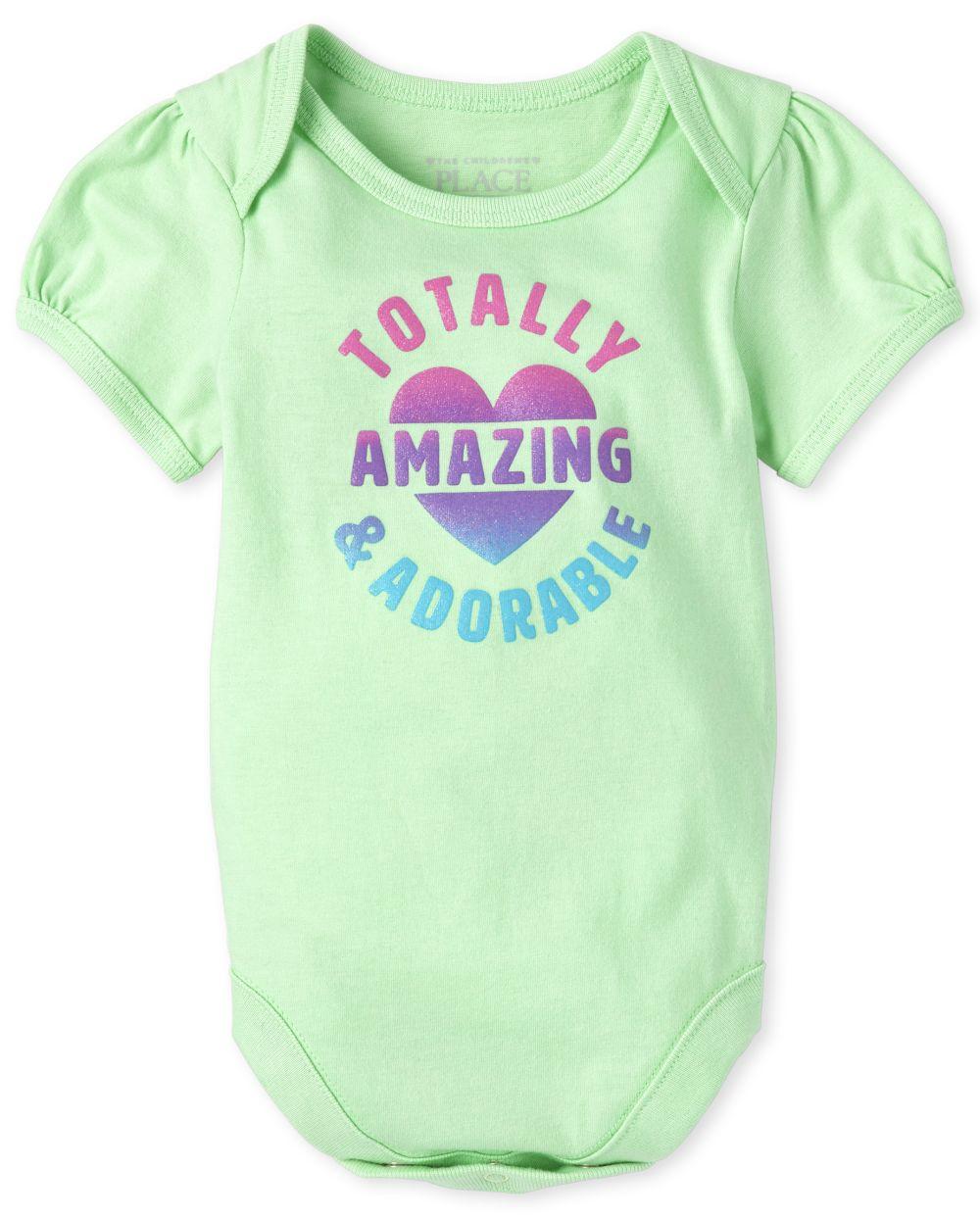 Baby Girls Glitter Amazing Graphic Bodysuit