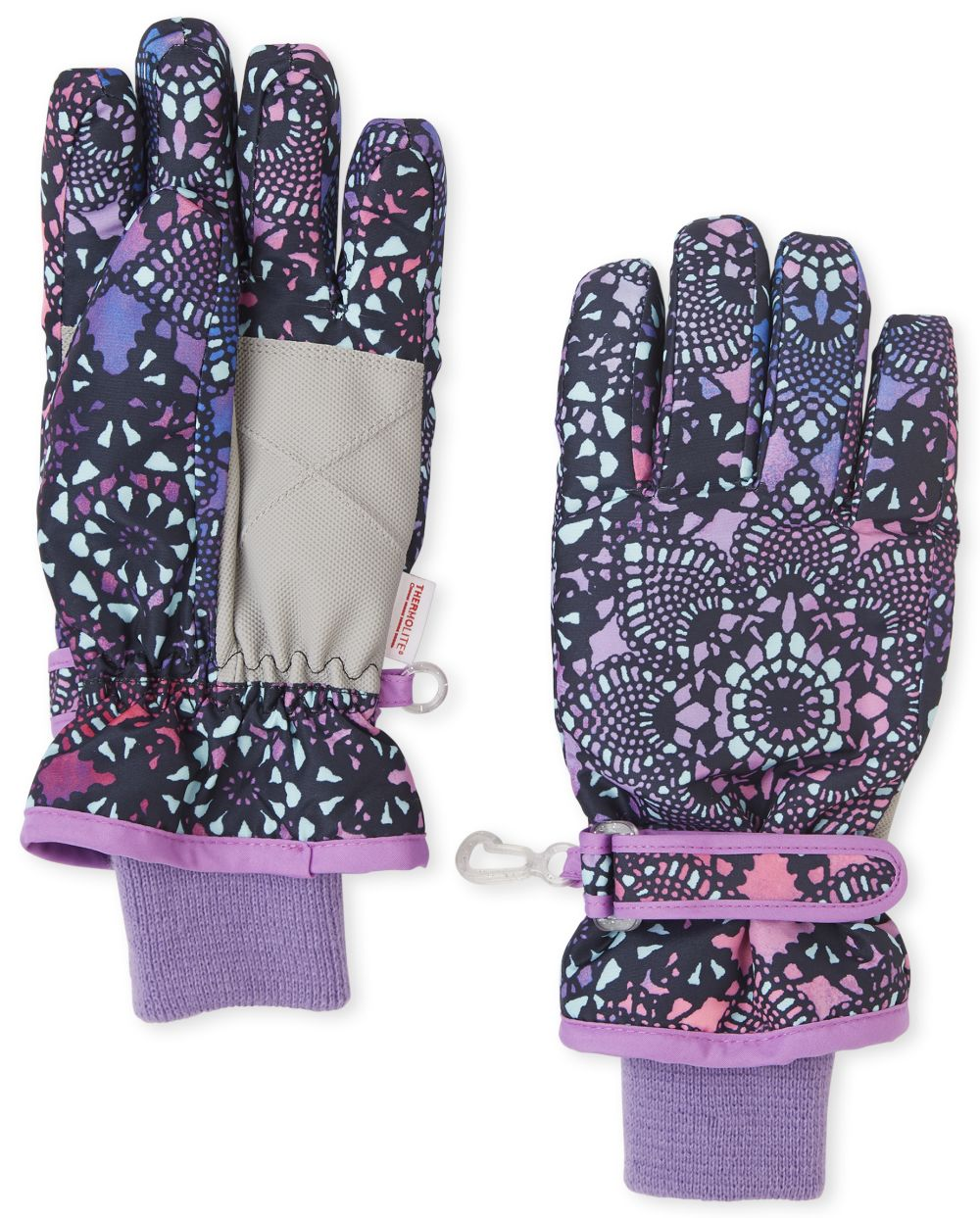 Girls Floral Ski Gloves