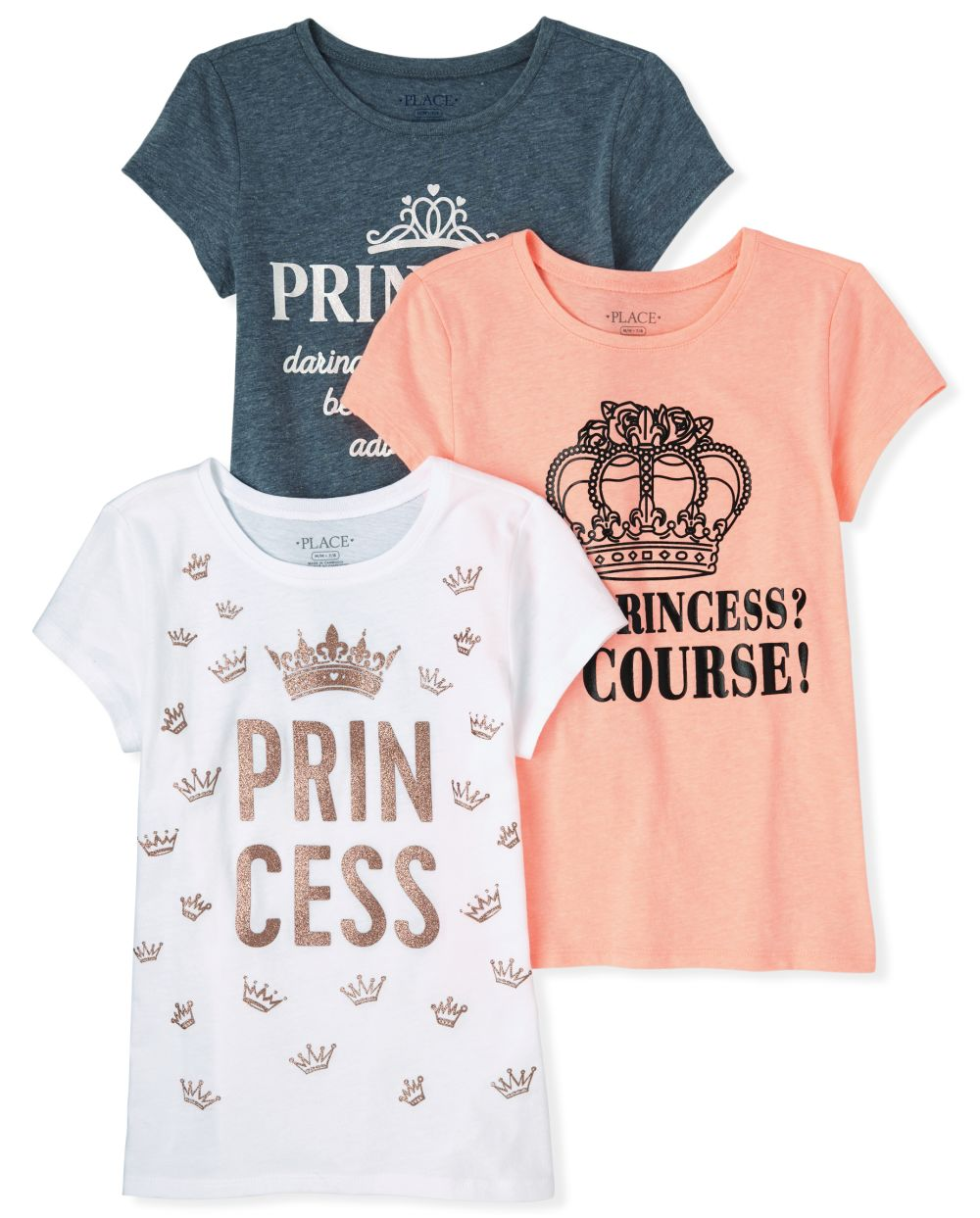 Girls Glitter Princess Graphic Tee 3-Pack