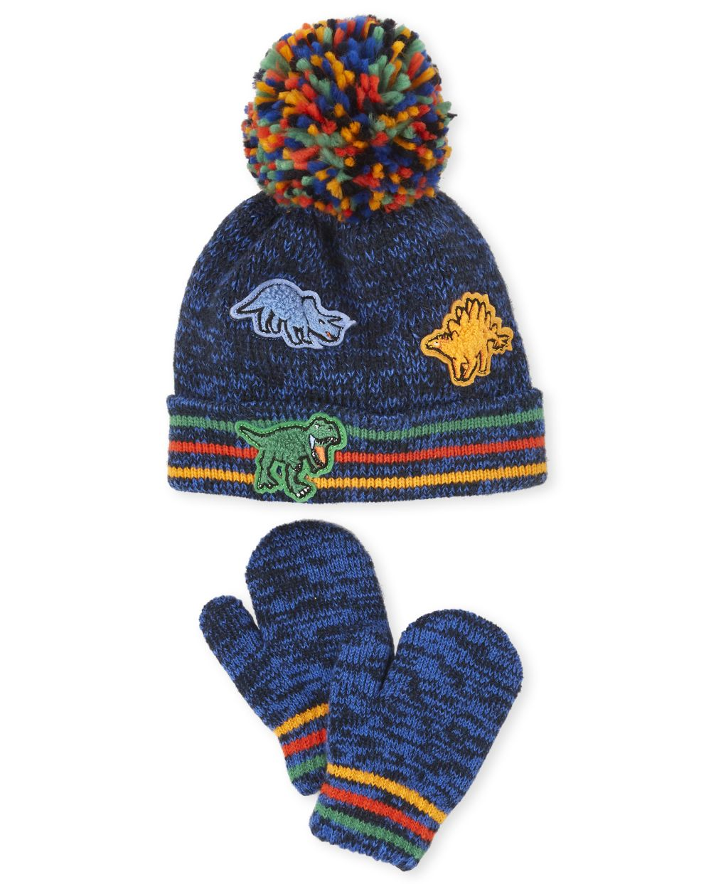 Toddler Boys Dino Pom Pom Beanie And Mittens Set