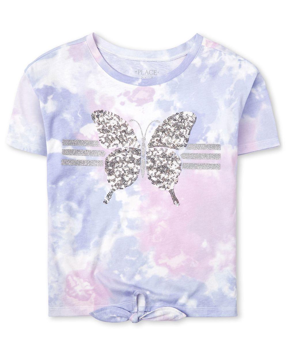 Top delantero con efecto tie dye y purpurina activa para niñas