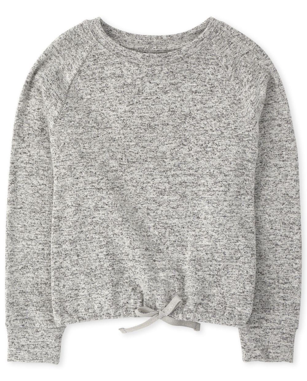 Top de suéter ligero delantero con lazo activo para niñas