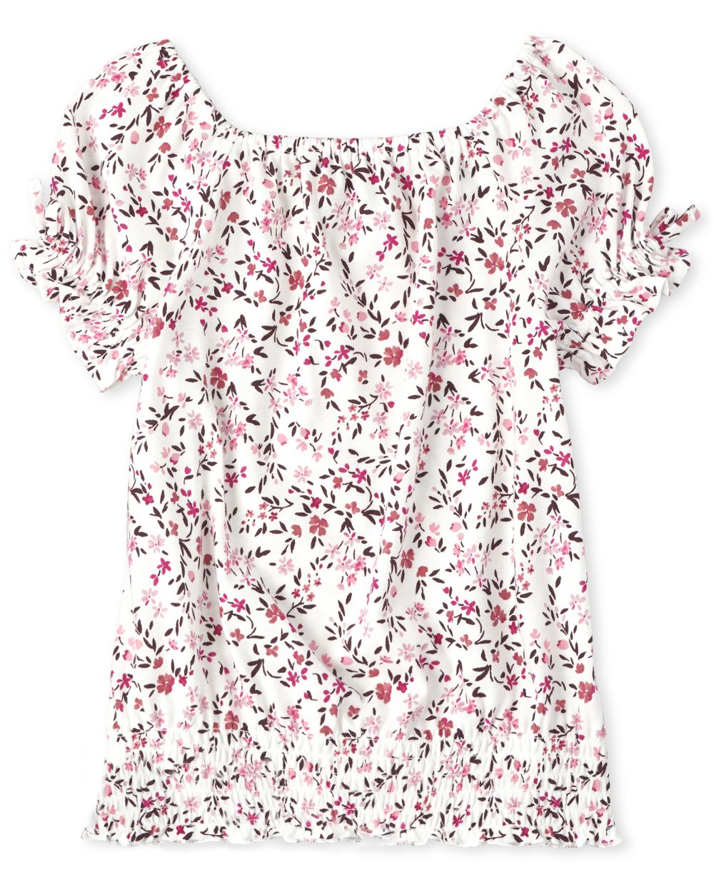 Girls Floral Smocked Peasant Top