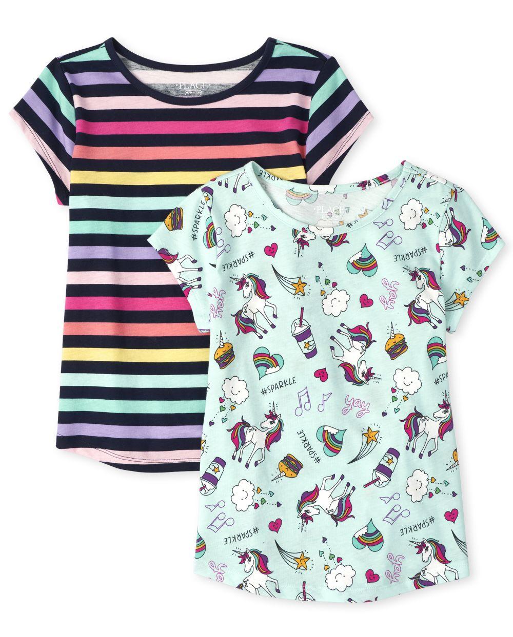 Girls Print Basic Layering Tee 2-Pack