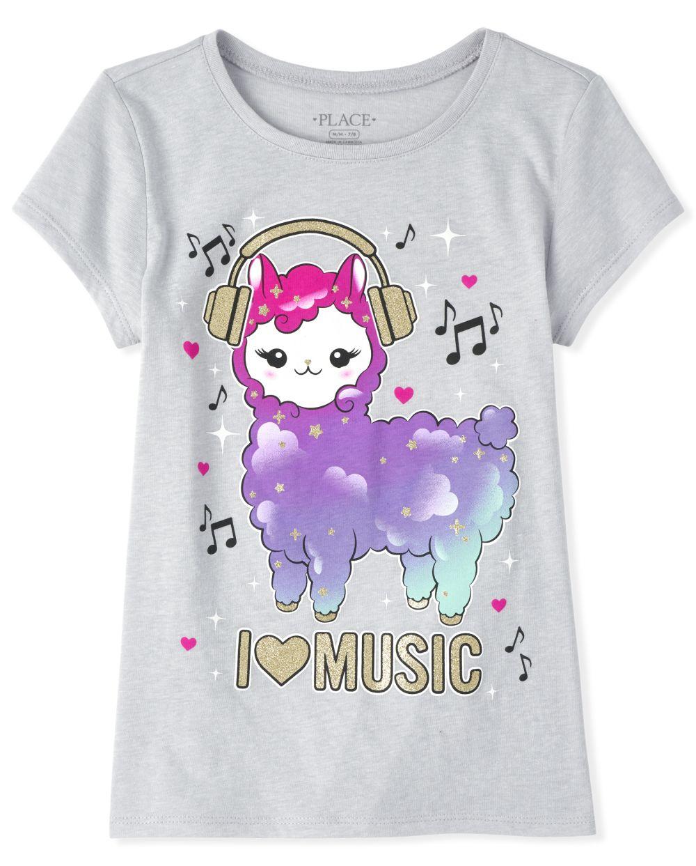 Girls Glitter Llama Music Graphic Tee