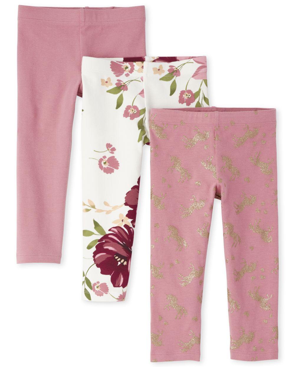 Toddler Girls Floral Unicorn Leggings 3-Pack
