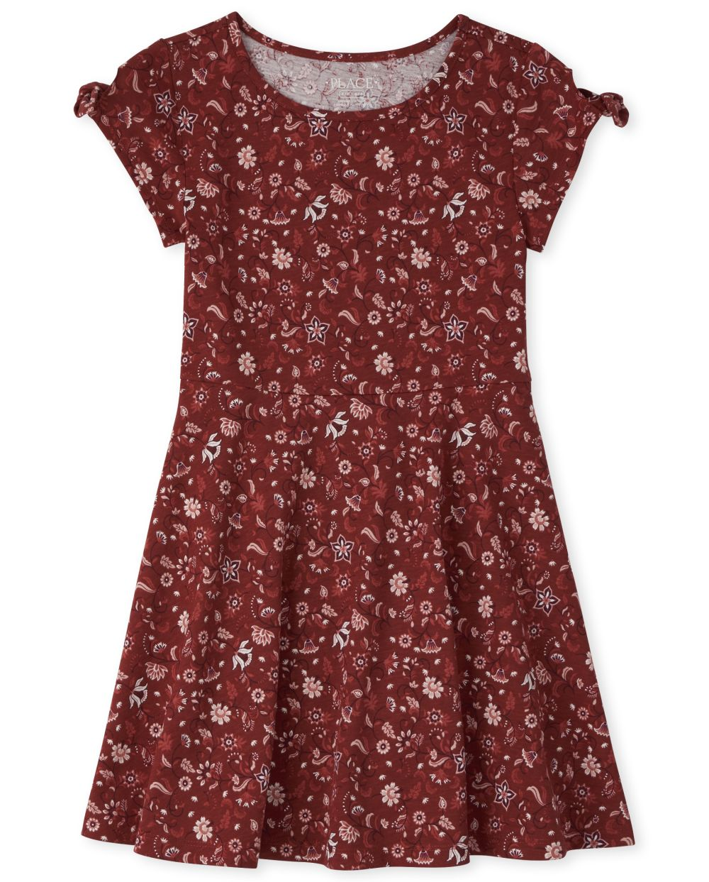 Girls Print Tie Sleeve Skater Dress