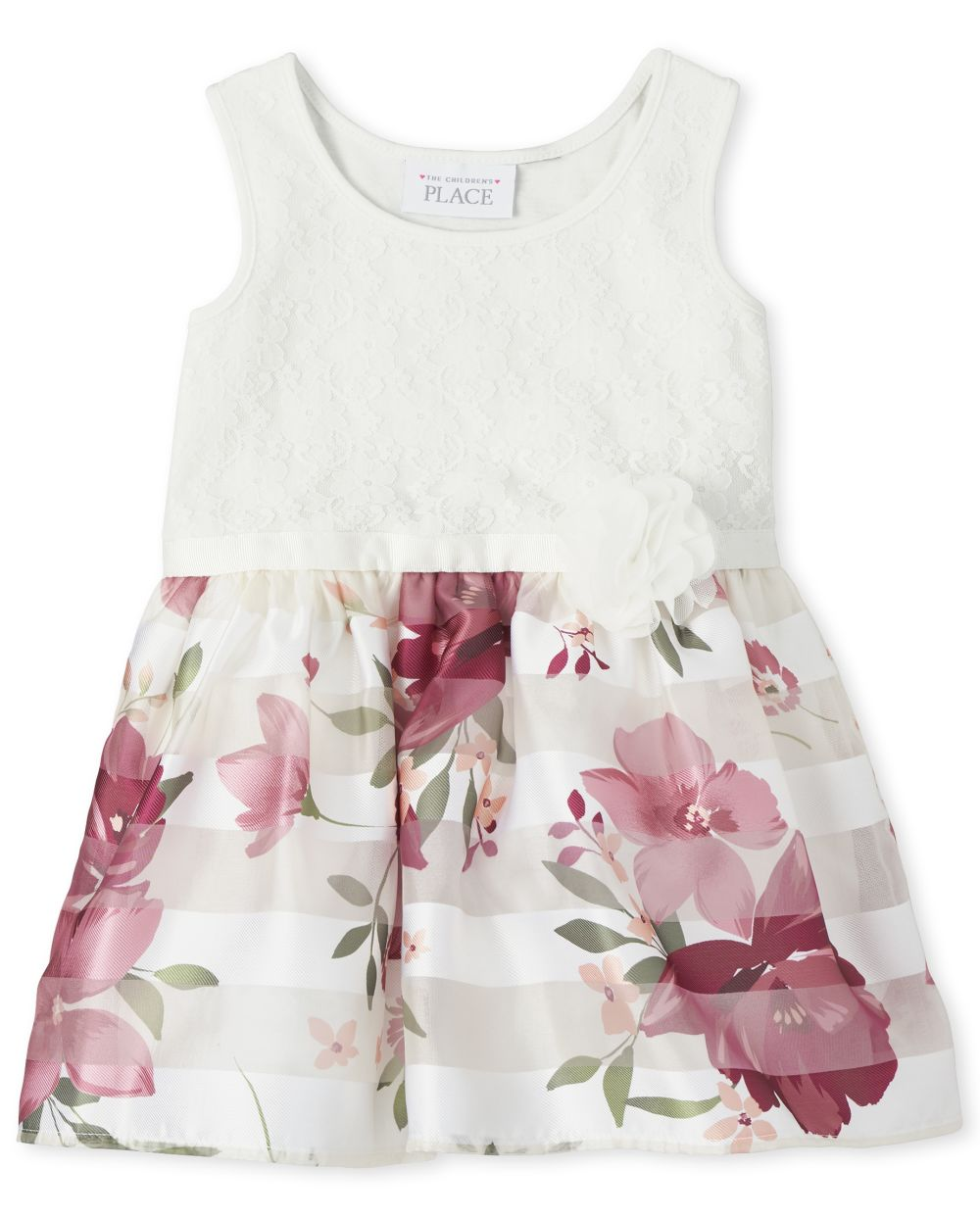 Toddler Girls Lace And Floral Knit To Woven Dress