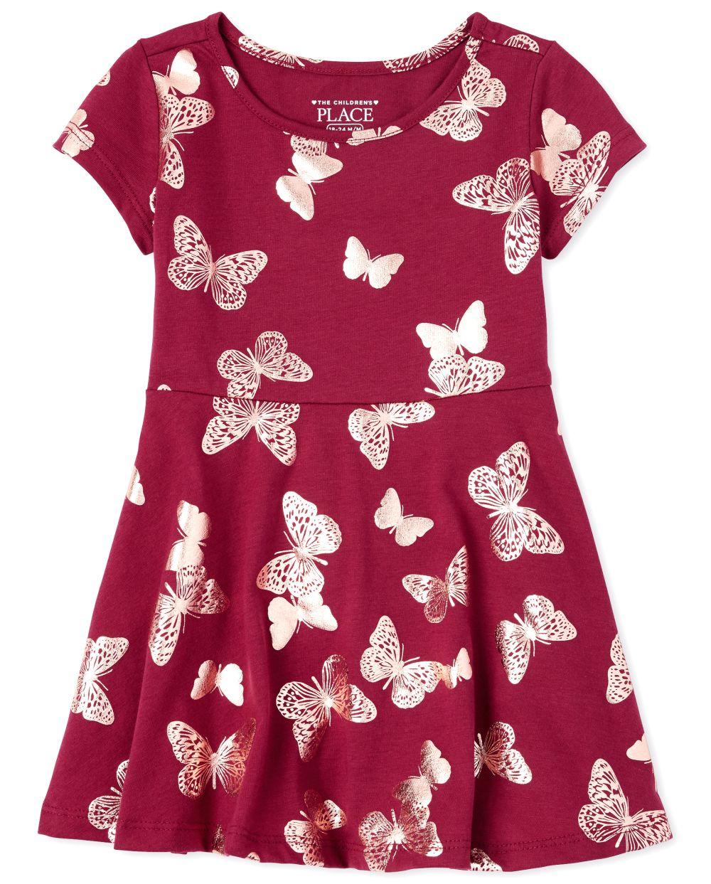 Vestido skater con estampado de mariposa y estampado de flores para bebés y niñas pequeñas