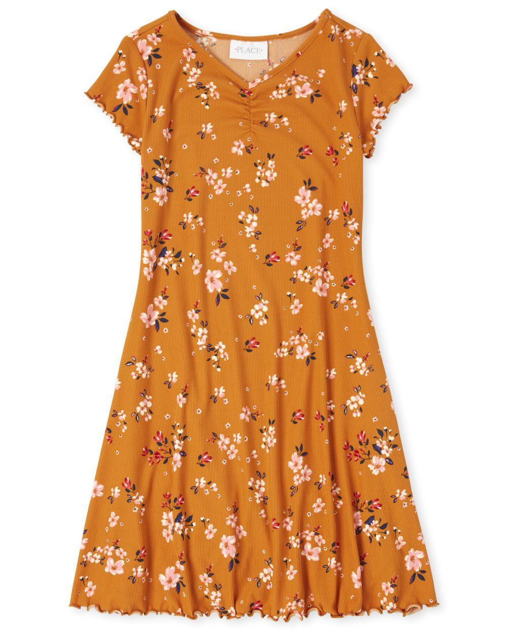 Girls Floral Rib-Knit Skater Dress