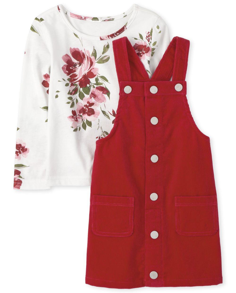 Conjunto de falda de pana floral para niñas pequeñas