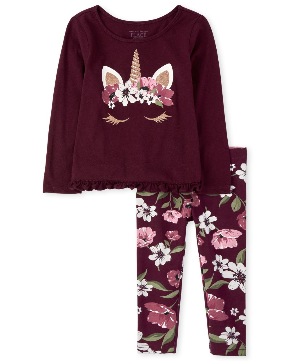 Toddler Girls Floral Unicorn Outfit Set