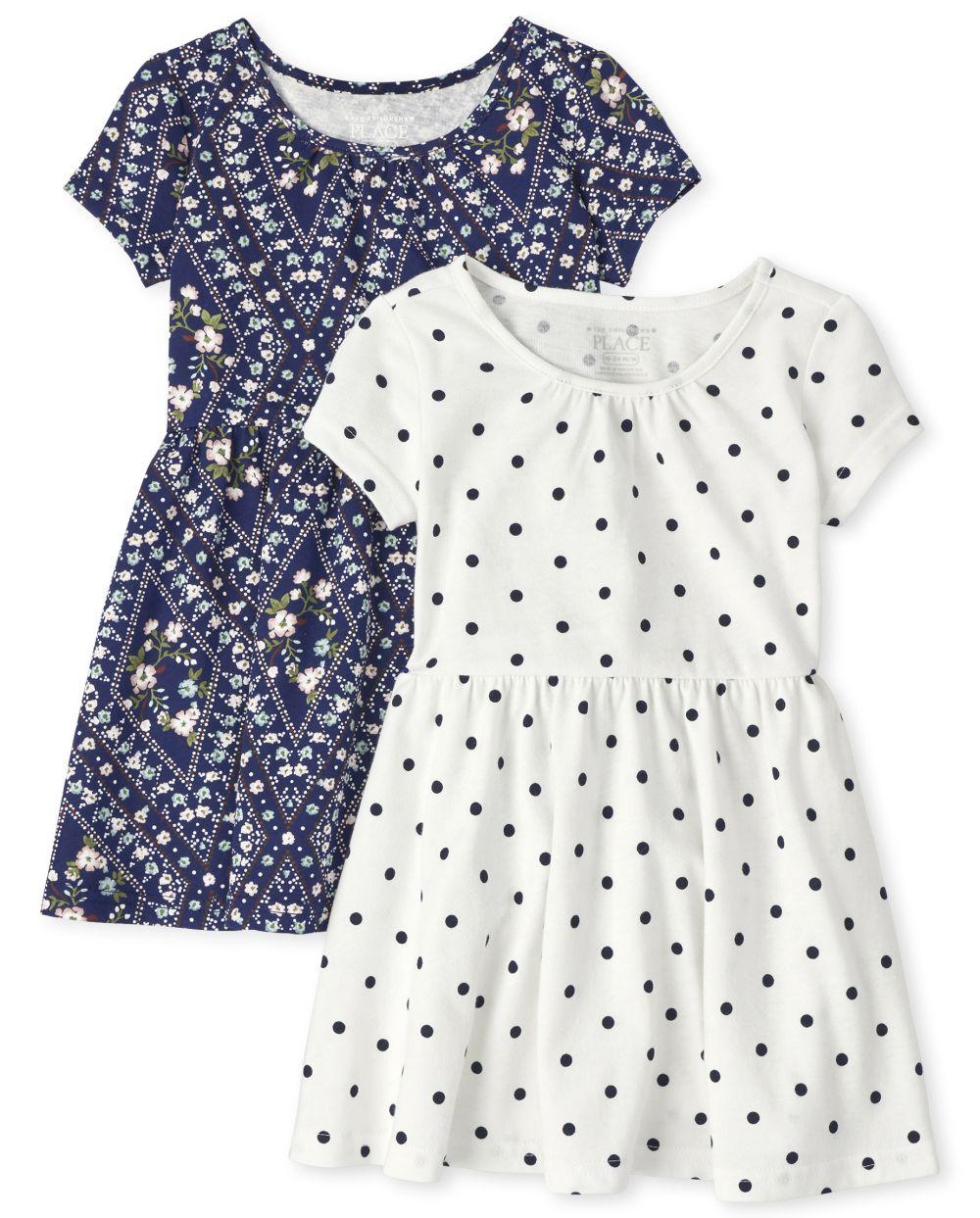Paquete de 2 vestidos skater para niñas pequeñas
